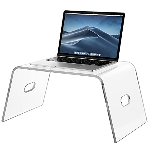 Egchi Acrylic Bed Tray with Handles (21'' x 12'' x 10''), Acrylic Monitor Stand Clear Laptop Stand for Home Office, Lightweight Portable Lap Desk for Eating, Mobile Drawing Table for Bed & Couch