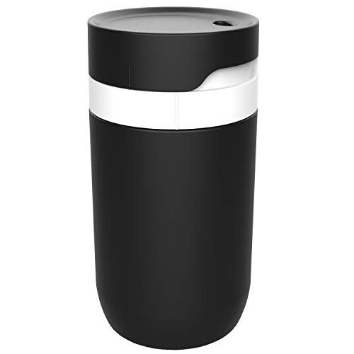 12oz Travel Thermal Coffee Mugs,Twist To Drink Complete Leakproof Cup,Food Grade Stainless Steel Vacuum Tumbler Travel Mugs For Car Holder (Black-White)
