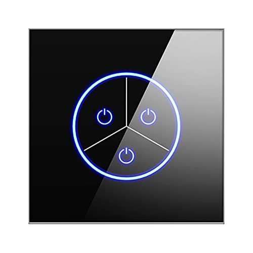 MEILINL Conmutador WiFi Interruptor De Luz 1/2/3 Vías Compatible con La Mayoría De Asistentes Inteligentes con Indicador Led con Panel De Vidrio Templado