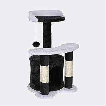 WilTec Arbre à Chat 65 cm Noir/Blanc avec Corde Sisal Plateforme Niche et Balle de Jeux Griffoir Grattoir