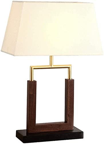 Lámpara de mesa moderna marrón nuez de madera de lino blanco Sombra de lino para sala de estar Dormitorio familiar Oficina de noche Iluminación