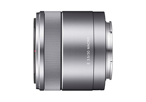 Sony SEL-30M35 Makro-Objektiv (Festbrennweite, 30 mm, F3.5, APS-C, geeignet für A6000, A5100, A5000 und Nex Serien, E-Mount) silber