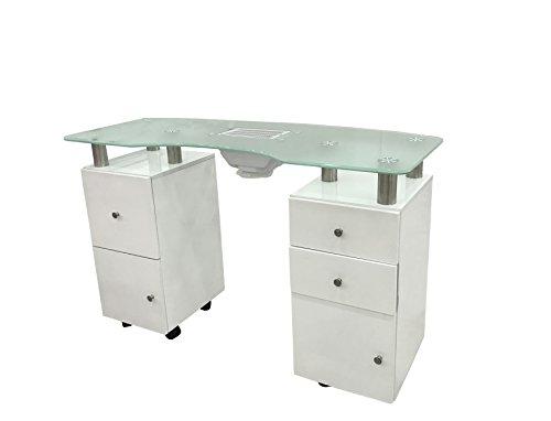 Crisnails ® Mesa Manicura Profesional Mesa de Trabajo Salón Belleza (MS Cristal Blanco) ⭐