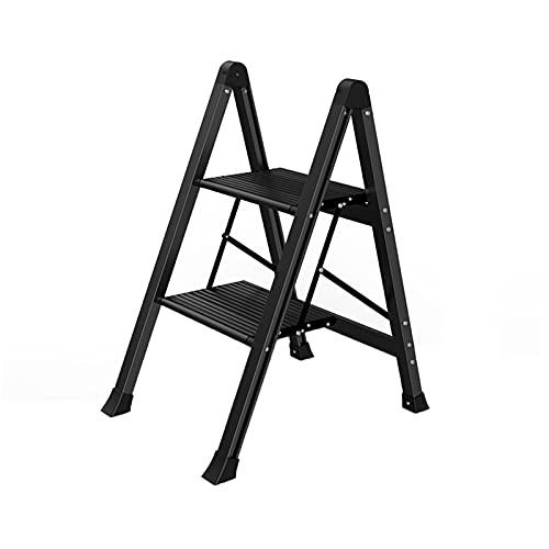 Black 2 Step Ladder/Argento 3 Step Ladder, Pieghevole Portatile Home Scaletta Balcone Cucina Piedi Pieghevoli Stepladders Pesanti Scale Pieghevoli(Size:42 * 53.5 * 69.5CM)