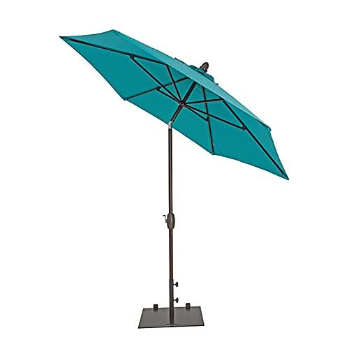 ZYFWBDZ Sombrilla de Patio de 9 pies al Aire Libre, sombrilla de Mesa de Mercado con botón de inclinación/manivela, 6 Varillas para Patio, jardín, Playa, terraza, Piscina,Cyan
