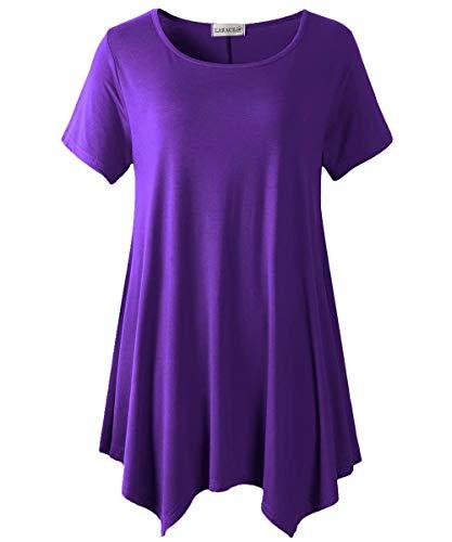 LARACE Womens Swing Tunic Tops Loose Fit Comfy Flattering T Shirt Deep Purple