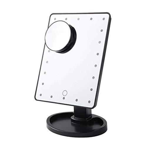 XuetongXT Touch Screen 22 Light Makeup Mirror Desktop Make Up 10X Magnifying Beauty Vanity Mirror Lighting Detachable/Storage Base Mirror (Color : 22 White Set)