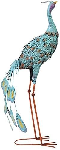 WQQLQX Statue Schmiedeeisen Peacock Skulptur Blau Pfau Vogel Statue Outdoor Schmiedeeisen Tier Statuette Garten Woodland Dekoration Ornamente Skulpturen (Color : A)