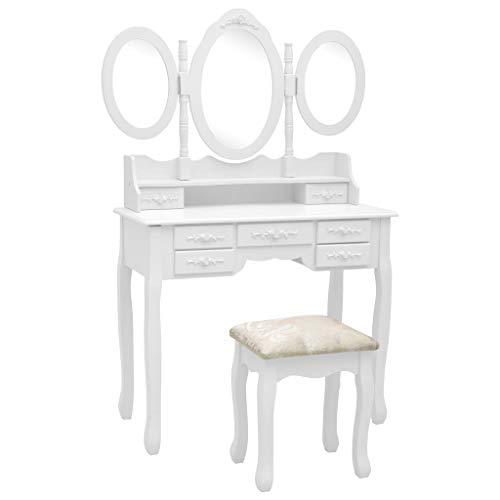Irfora Schminktisch Weiß mit Hocker 3 Spiegel Frisiertisch Modern Kosmetiktisch Frisierkommode Schminkkommode Kommode mit 7 Schubladen, 90x40x146 cm Paulownia-Holz