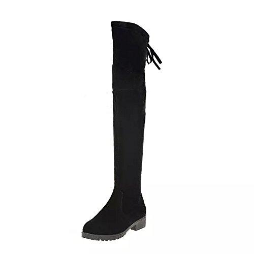 Zapatillas de Mujer Botas Altas con Cordones y Punta Redonda