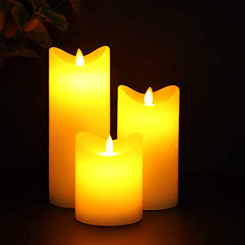JHY DESIGN 10/15/20 cm High Set of 3 Flickering Battery Candle Wave Open Real Wax Flameless Candles Battery Powered with Dancing Flames Electric Candles for Lantern Home Valentine's Day Gift(Ivory)