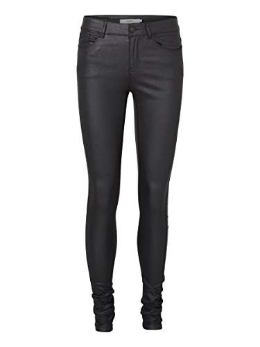Vero Moda Vmseven NW SS Smooth Coated Pants Noos Pantalones, Negro (Black Detail:Coated), 38 /L30 (Talla del Fabricante: Medium) para Mujer
