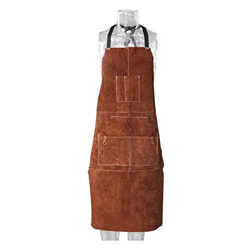 NiceDD Delantal de cuero para soldar de 24 'x 42' Delantal de soldadura de trabajo resistente al calor resistente a las llamas con 6 bolsillos, correas ajustables para hombres y mujeres