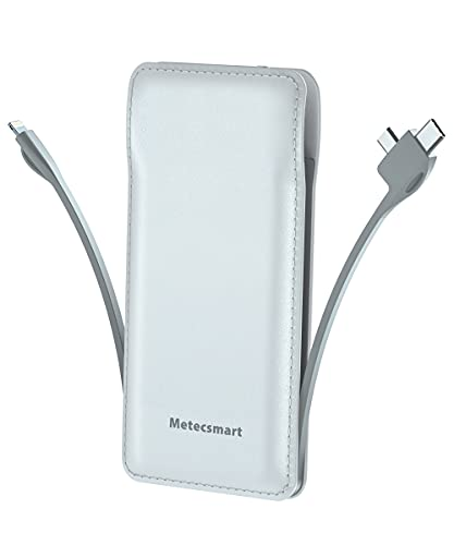 Portable Charger with Built in Cable, Metecsmart 10000mah Power Bank Portable Charger Type C USB C Cell Phone Thin Slim Lightweight Travel Tiny 5V Backup Battery Pack for iPhone Samsung Android iPad1