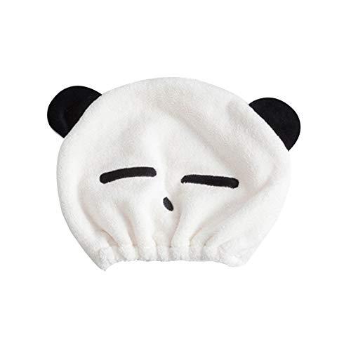 WFF Sombrero Toalla de Pelo de Microfibra para niños niñas, niños, Secado para el Cabello Panda Panda Playa Wrap de Toalla de Turbante de Turbante de Turban Gorro de puntogorra (Color : White b)
