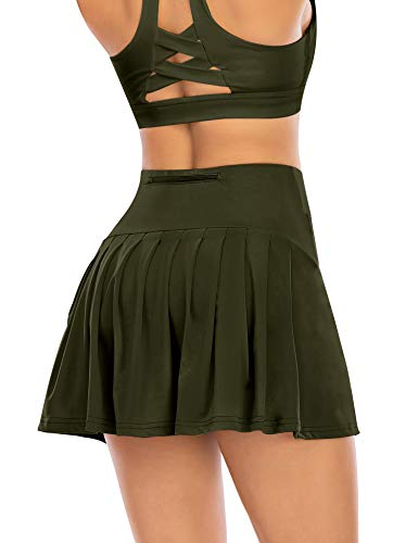 Pleated Tennis Skirts for Women with Pockets Shorts Athletic Golf Skorts Activewear Running Workout Sports Skirt (Dark Green, Small)