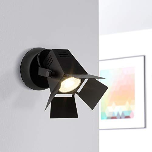 Moderner LED Wandspot, im besonderen Strahler Design, 1x 5W GU10 LED inkl, 345 Lumen, 2700K warmweiß, Metall, schwarz matt
