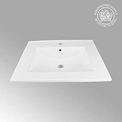 "Luke 24"" Square Drop-In Bathroom Sink Self Rimming White With Overflow Grade A Porcelain Renovators Supply Manufacturing"