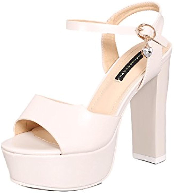 GTVERNHWomen's Ladies Fashion Summer Thick Heels High Heels Waterproof Platforms Super High Heels 12Cm Buckles Fashion Fish Mouths Sandals Simple Wild Joker.