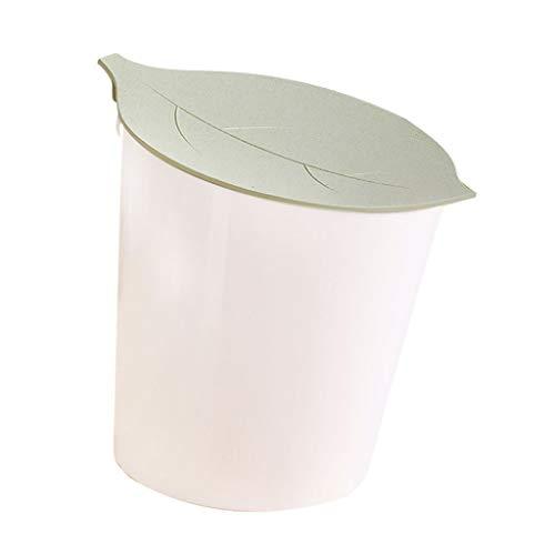 Bote de Basura Cubo de basura para escritorio Papelería con tapa pequeña Cesta de papel pequeño Cubo de almacenamiento doméstico Cubre forma de hoja Mini Basurero Diseño de inclinación creativa Papele