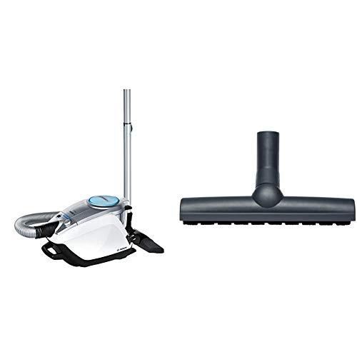 Bosch Relaxx´x ProSilence Plus Bodenstaubsauger beutellos BGS5331, besonders leise & saugstark, für Allergiker geeignet, 700 Watt, weiß & BBZ123HD Bodenbürste für Parkett und Hartböden