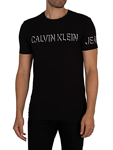 Calvin Klein Jeans de los Hombres Camiseta con Logo Shadow, Negro, S