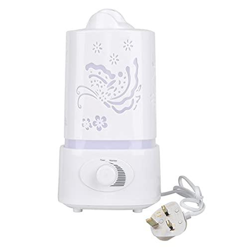 QiKun-Home Delicado tallar patrones perilla tipo niebla ajustar luz de noche LED 1.5L ultrasónico hogar aroma humidificador difusor de aire purificador Lonizer atomizador blanco UK plug