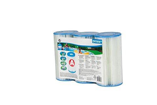 INTEX Filterkartusche Typ A 20 cm, Aussen Ø 10,7 cm, Innen Ø 4,7 cm, 3er Pack // Filter Kartusche Poolfilter Ersatzfilter Poolpumpe Lamellenfilter 3er Set