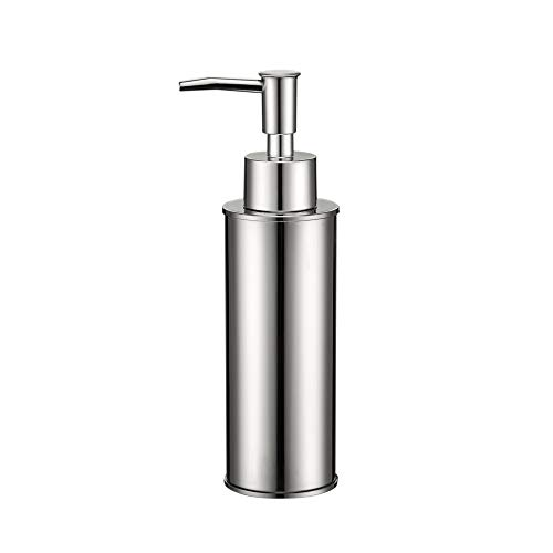 Soap Dispenser ,Stainless Steel Liquid Hand Free Standing (Silver, Round)