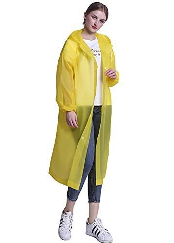 KCLONAZS 2Pcs EVA Chubasquero Impermeable Portátil Reusable Poncho de Lluvia con Capucha y Mangas Largo (Color : Amarillo, Tamaño : Un tamaño)
