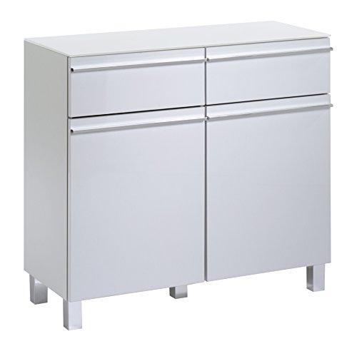 Sleek VS zijrails. Melamine wit HGL wit/glas wit Dressoir Seitenschrank mit zwei Türen und zwei Schubladen wit