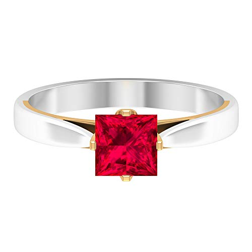 Piedra de nacimiento de julio — Anillo de rubí en forma de princesa solitario 5,5 mm, 1 quilate, anillo de compromiso de dos tonos, anillo de oro simple, 10K Oro amarillo, Size:EU 45