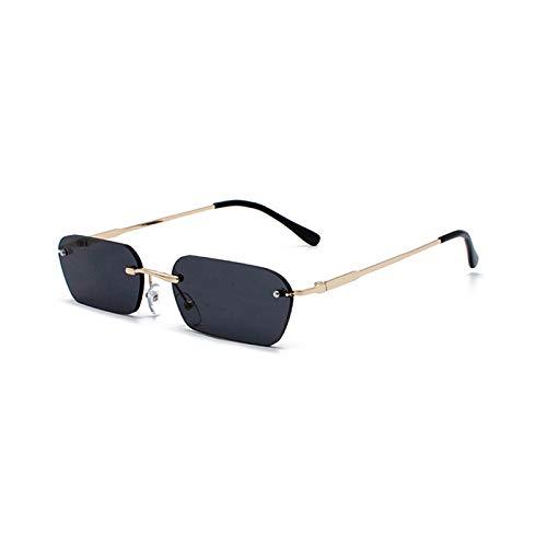 WANGZX Gafas De Sol Sin Marco De Moda Gafas De Sol Transparentes Retro para Mujer Gafas Rectangulares para Mujer Uv400 C1Gold-Grey