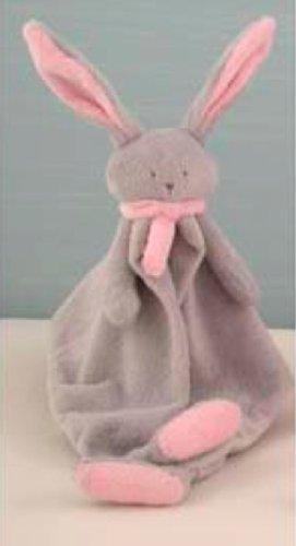 Lapin doudou gris clair et rose
