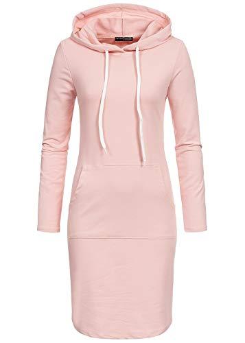 Styleboom Fashion® Damen Kleid Basic Sweater Hoodie Dress rosa, Gr:XXL