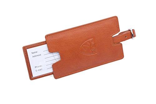 TRADARA Kofferanhänger mit Namensschild aus echt-Leder, Gepäckanhänger für Reisekoffer - Kofferschild verdeckt, Namensschild für Koffer & Reisetasche, Adressanhänger für Trolley (Cognac-braun)