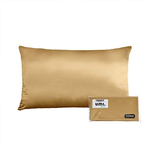 UMI. by Amazon - 22 Momme Seidenkissenbezug 40x80cm 1 Stück, Seide Kissenbezug für Haar und Haut Gold, Beidseitig 100% Seide