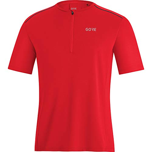 GORE WEAR Camiseta de manga corta de running Flow para hombre, Con cremallera, L, Rojo