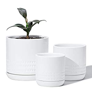 Silk Flower Arrangements POTEY 053403 Planter Pots Indoor - 6.6 + 5.1 + 4.2 Inch Modern Home Decor Glazed Ceramic Flowerpots Bonsai Container with Drainage Holes & Saucer for Plants Flower Aloe(Plants Not Included)