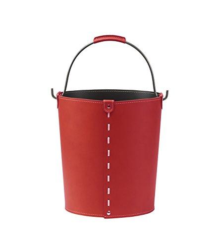 Gavemo Vintage: Contenitore in Cuoio Colore Rosso con Manico in Acciaio, Borsa, Cesto, portalegna, gettacarte, Realizzato in Italia by LIMAC Design.