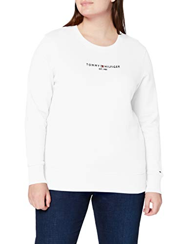 Tommy Hilfiger TH ESS Hilfiger C-nk Sweatshirt Suéter, Blanco (White), M para Mujer