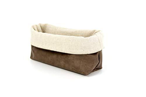 Wosde - Cesta vintage para pan, porta objetos, de piel y tela, para cocina, baño, mesa y escritorio (rectangular, rectangular)