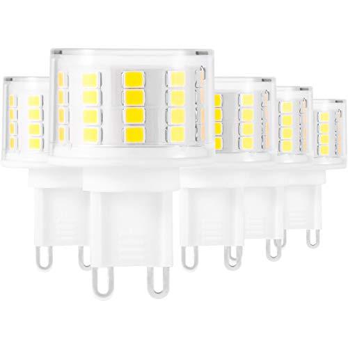 G9 Light Bulbs, AMAZING POWER G9 LED Bulbs 50W Bi Pin G9 Haologe Bulb Replacement Warm White – 5 Pack
