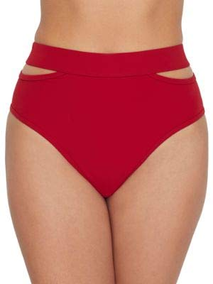Miss Mandalay Icon Split High-Waist Bikini Bottom, S, Ruby Red
