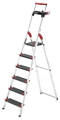 Preisvergleich Produktbild Hailo 8896-001 Alu-Sicherheits-Haushaltsleiter Championsline 225 kg - 6 XXL-Stufen mit Ausziehbarem Sicherheits-Haltebügel und Multifunktionsschale