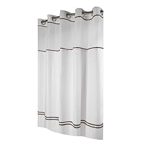 instecho Fabric 3-in-1 Shower Curtain Set with PEVA Snap-in Liner and Window, 71-Inch by 74-inch, White/Brown