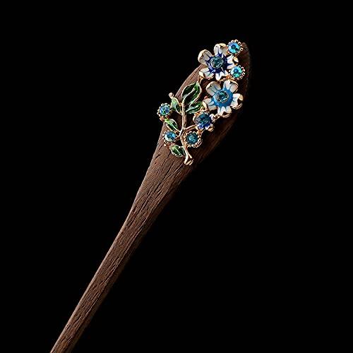 Buy1Got1Free,Gorgerous Kaffee Holz Haarstab,Emaille Blau Gänseblümchen Blumen Haar Essstäbchen Vintage Chinesischen Stil Glückliche Haarnadel Für Frauen Langes Haar