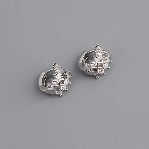 Pendientes Aros Plata,Modern Creative Wide Hollow Rhombus Geometry Zirconia Fashion Charm Pendientes con Bisagras Hipoalergénicos Círculo Fino Joyas De Bucle Sin Fin para Dama Hombres Niñas Casar