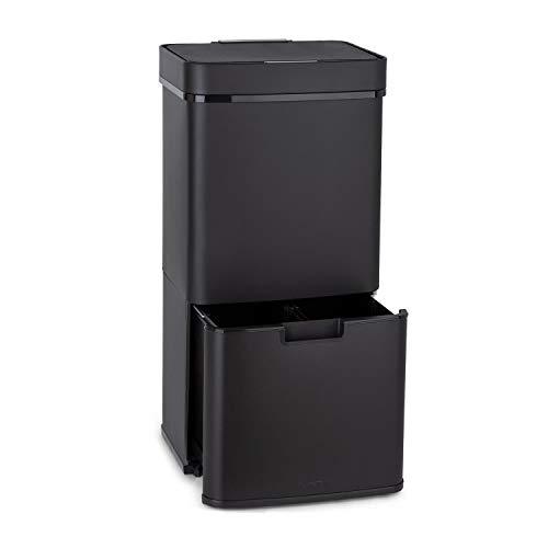 Royal Trash   Cubo de Basura con Sensor, Apertura y Cierre automático, 72 L de Volumen en 4 recipientes, Basura y desechos reciclables: 43 y 2 x 12,5 L, Cubo Bio con Tapa: 4 L, Negro