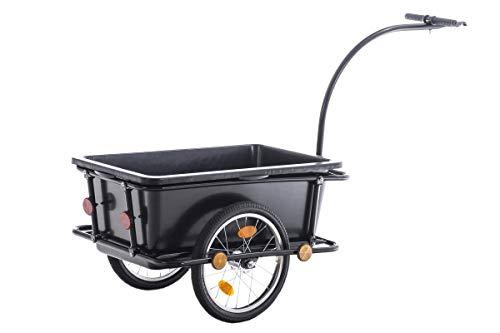 Remolque para Bicicletas Lenny I Remolque de Bicicleta para Carga en Negro I Carretilla de Carga con Asas Negras I, Color:Negro